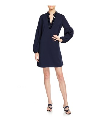Lilly Pulitzer Shea Long-Sleeve Stretch Dress w/ Embellished Collar