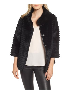 Linda Richards genuine rex rabbit fur crop jacket