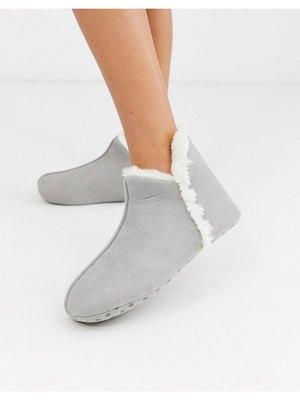 Lindex faux suede short slipper boot in gray