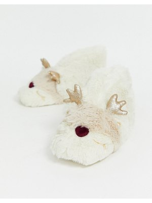Lindex fluffy reindeer short boot slippers in cream-white