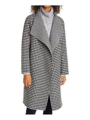 LINE adelaide houndstooth check reversible wool wrap coat