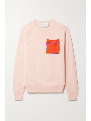 Lingua Franca embroidered brushed cashmere sweater