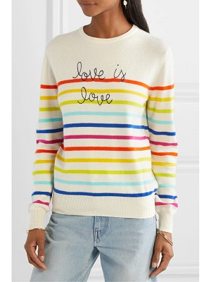 Lingua Franca love is love embroidered striped cashmere sweater