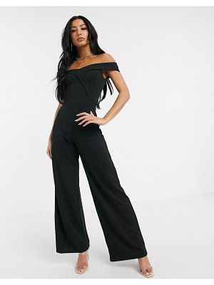 Lipsy bardot jumpsuit with wide leg in black