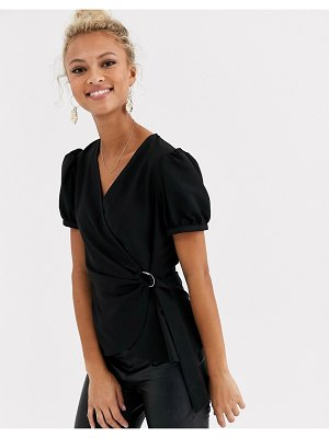 Lipsy black d ring puff sleeve blouse in black