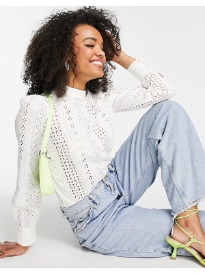 Lipsy broderie high neck blouse in white