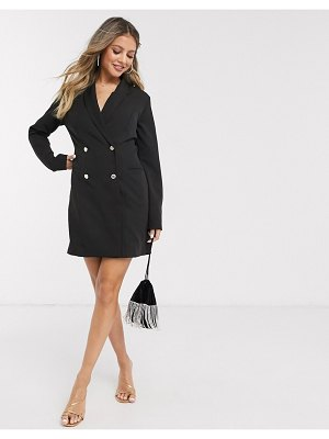Lipsy double breasted military blazer dress in black-white