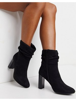 Lipsy faux suede slouch heeled boot in black