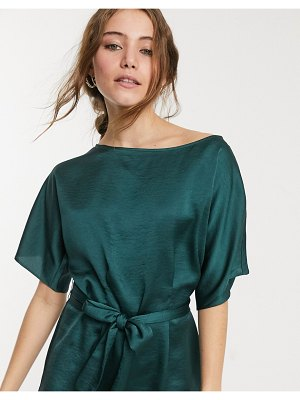Lipsy fluted sleeve blouse with belt detail in green