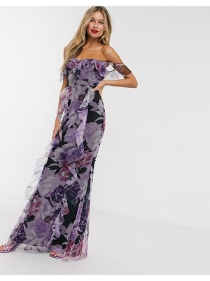 Lipsy frilly off shoulder maxi dress in floral print-multi