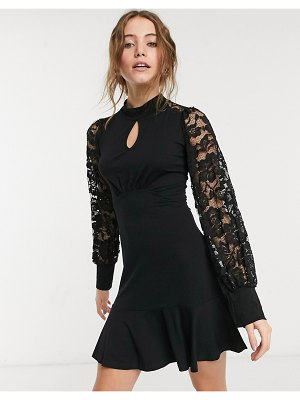 Lipsy keyhole skater dress with organza balloon sleeves in black