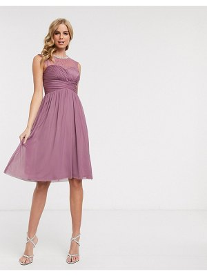 Lipsy lace embellished midi dress in pink