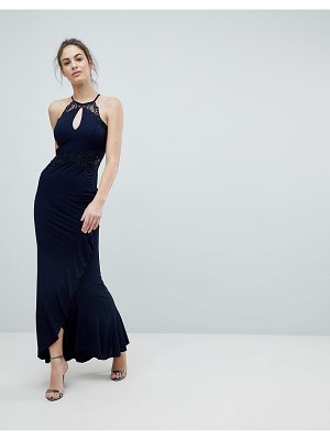 Lipsy Lace Trim Maxi Dress With Frill Skirt