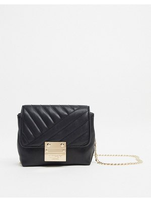 Lipsy mini quilted bag with gold chain strap in black