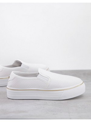 Lipsy moc croc flat form sneakers in white