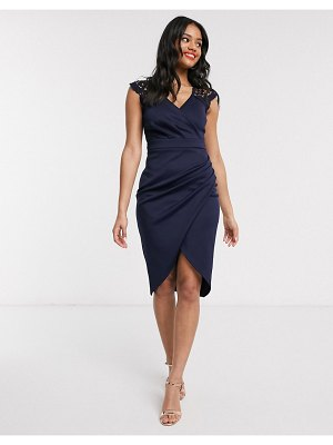 Lipsy plunge front lace detail pencil dress in navy