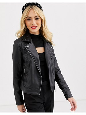 Lipsy pu biker jacket in black