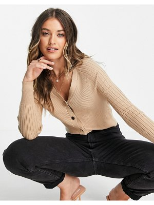 Lipsy ribbed cardigan with button detail in camel-brown