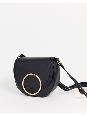 Lipsy ring detail cross body bag in black