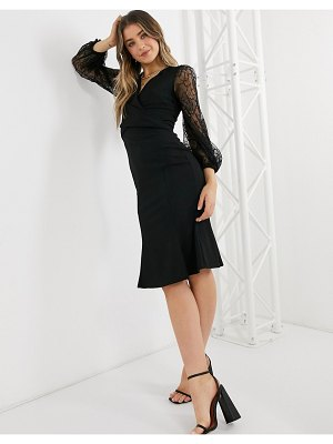Lipsy wrap front fluted hem pencil dress with lace sleeves in black