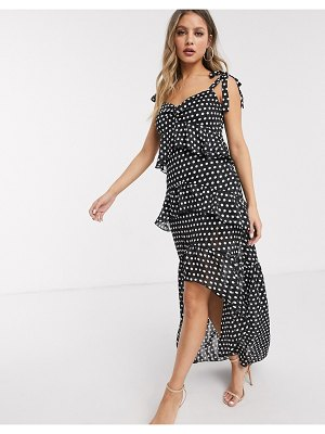 Lipsy x abbey clancy ruffle tiered maxi dress with tie shoulder detail in polka print-multi