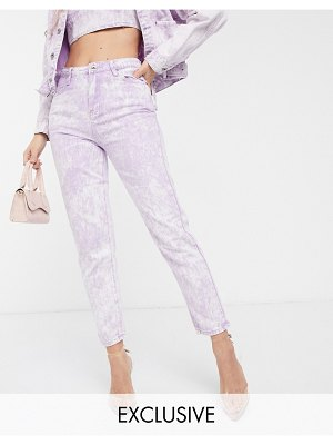 Liquor N Poker mom jeans in acid wash two-piece-pink