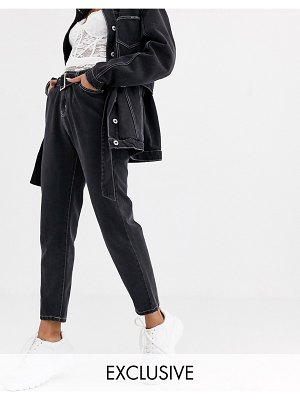 Liquor N Poker mom jeans in washed black two-piece