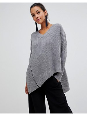 Liquorish asymmetric sweater with zip detail