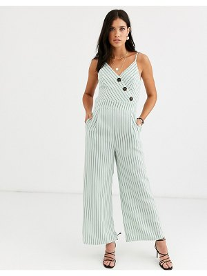 Liquorish cami jumpsuit with button detail in green stripe