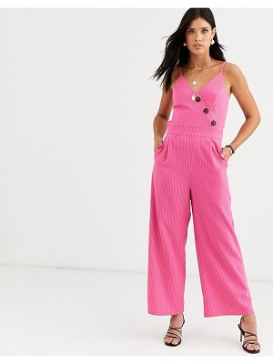 Liquorish cami jumpsuit with button detail in pink stripe