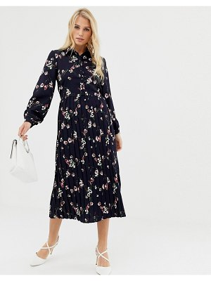 Liquorish floral mid shirt dress with pleated skirt