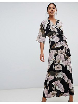 Liquorish floral print wrap maxi dress