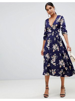 Liquorish floral print wrap midi dress