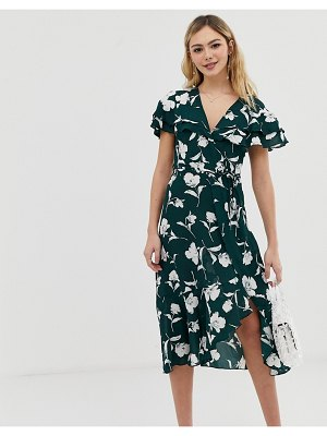 Liquorish floral wrap dress with ruffle sleeves