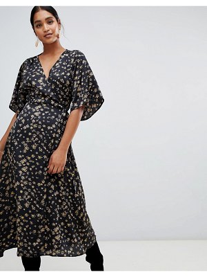 Liquorish floral wrap midi dress with kimono sleeve