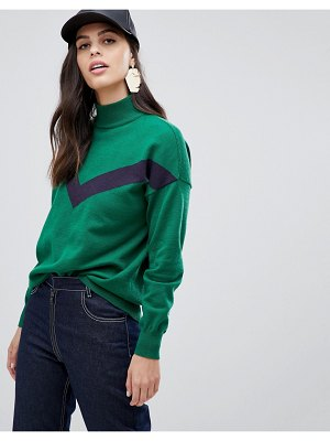 Liquorish high neck asymmetric sweater with contrast zig zag panel