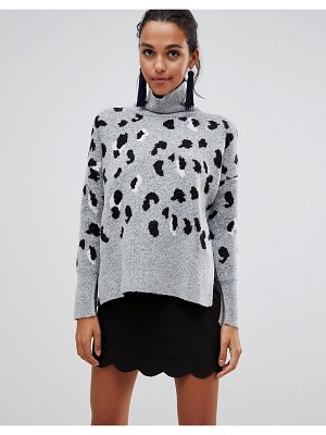 Liquorish high neck leopard sweater with zip