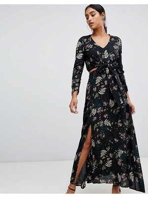 Liquorish leaf and floral print cutaway maxi dress