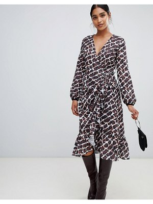Liquorish leopard print ruffle hem midi wrap dress