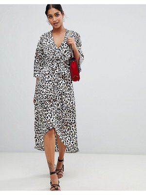 Liquorish leopard print wrap midi dress