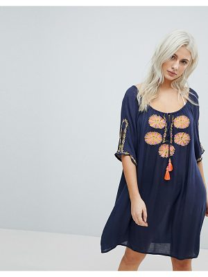 Liquorish Navy Beach Dress With Floral Embroidery
