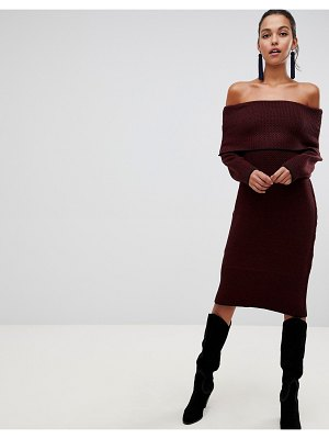 Liquorish off shoulder midi sweater dress