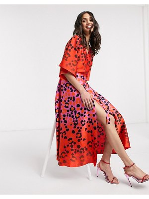 Liquorish ombre leopard print wrap midaxi dress in hot pink and red-multi
