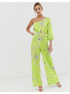 Liquorish one shoulder culotte jumpsuit in lime green floral-yellow