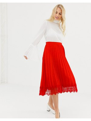 Liquorish pleated mid skirt with lace trim