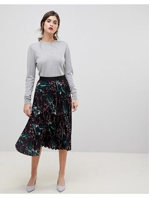 Liquorish Printed Pleated Midi Skirt
