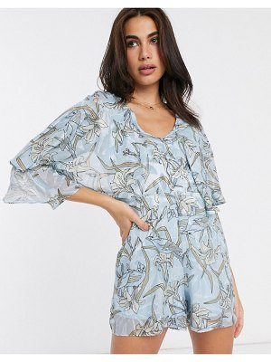 Liquorish romper with frill sleeves in floral print-blue