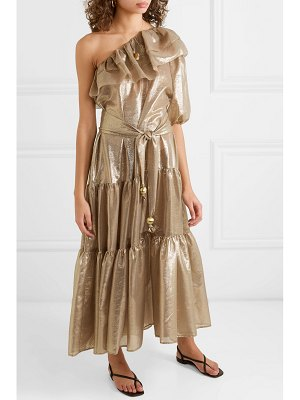 Lisa Marie Fernandez arden one-shoulder ruffled metallic cotton-blend voile maxi dress