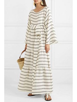 Lisa Marie Fernandez belted tiered striped voile maxi dress