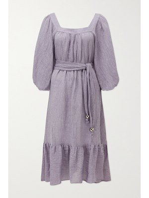Lisa Marie Fernandez laure belted organic linen-blend gauze midi dress